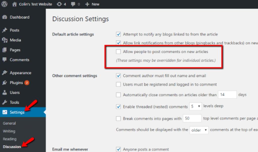 Reacties uitschakelen in WordPress