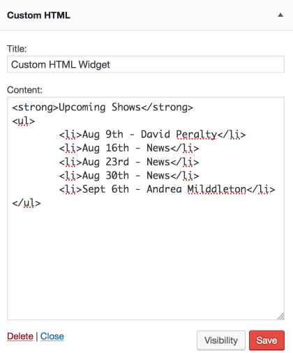 custom html widget