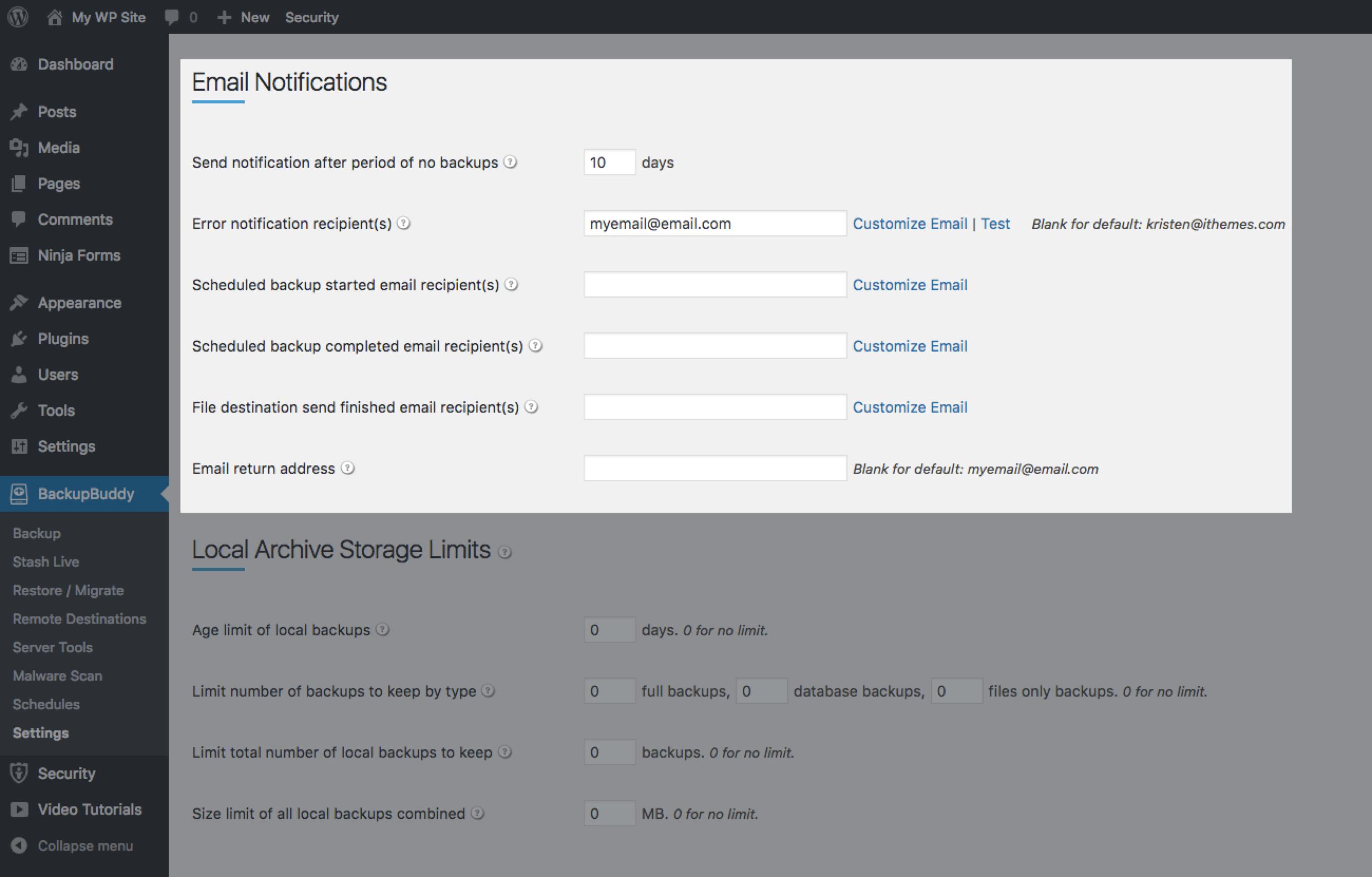 backupbuddy e-mail notificaties