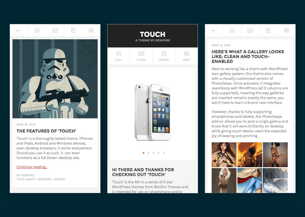 mobiele WordPress thema's