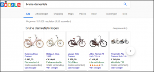 AdWords advertenties Bruine damesfiets