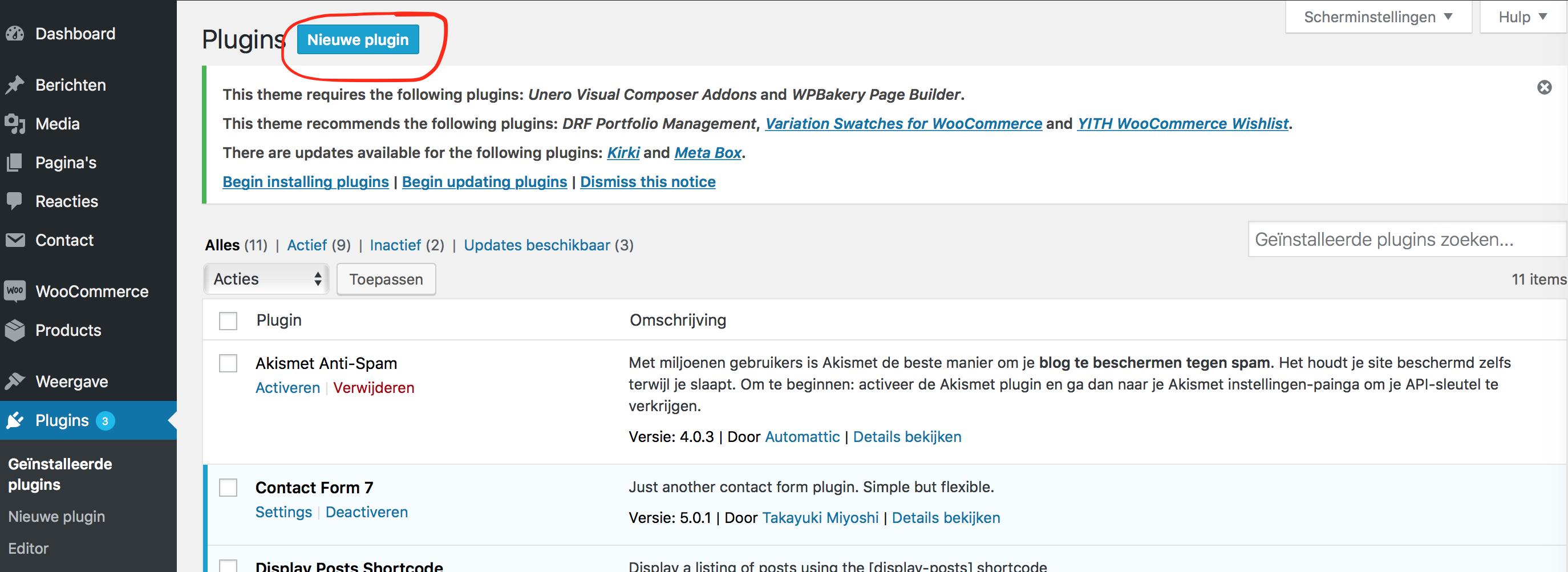 wordpress plugin installeren