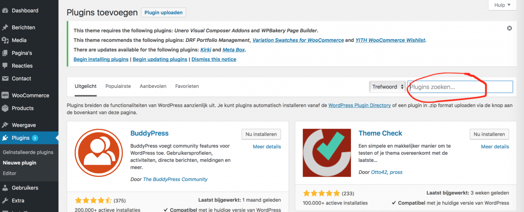 wordpress plugin zoeken