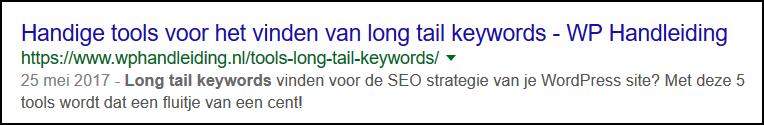 Metatag Description Long Tail Keywords WP Handleiding