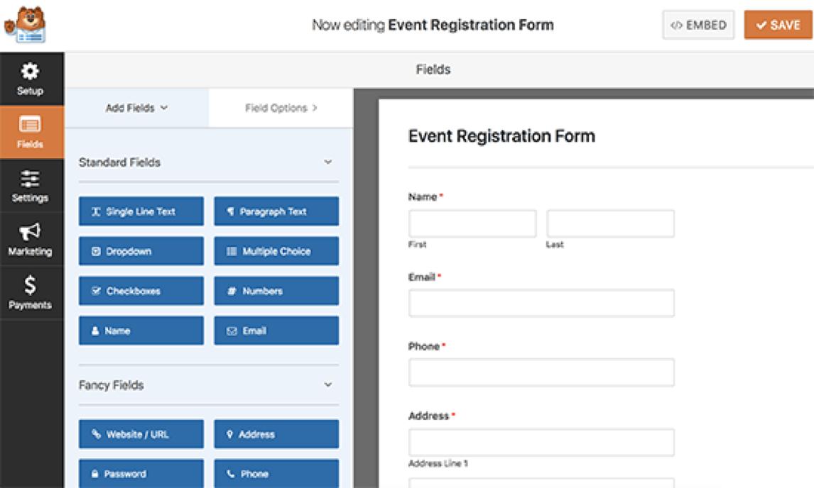 registratiepagina voor evenementen