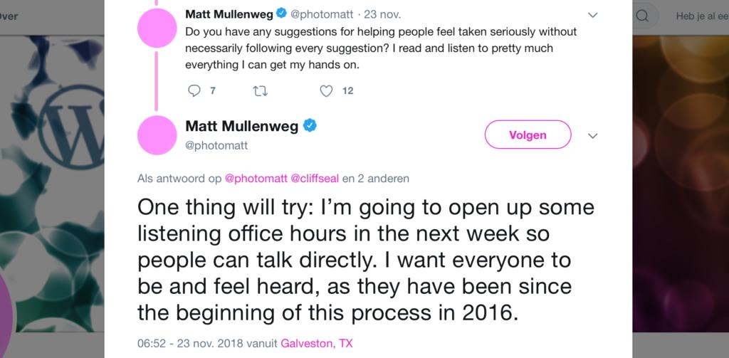 Mullenweg reageert op Gutenberg critici