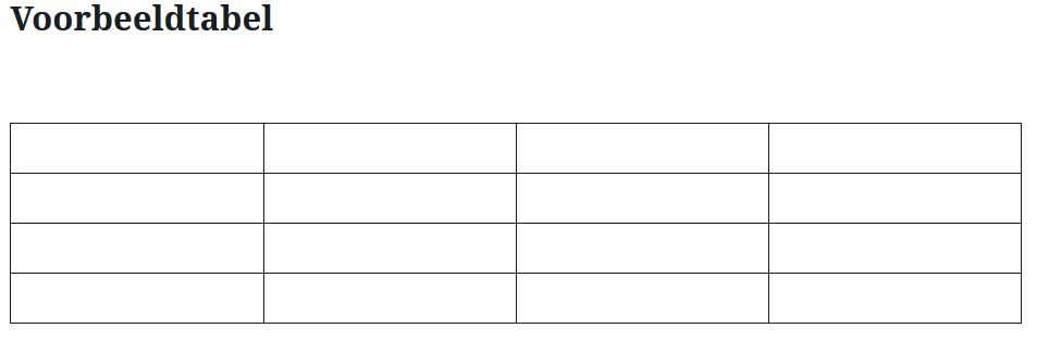 Tabel toevoegen