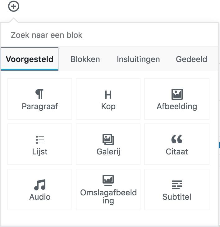 Gutenberg blokken zoeken