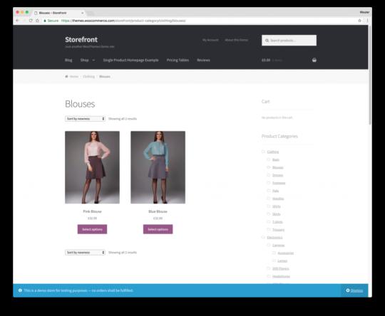 Woocommerce themes storefront gratis