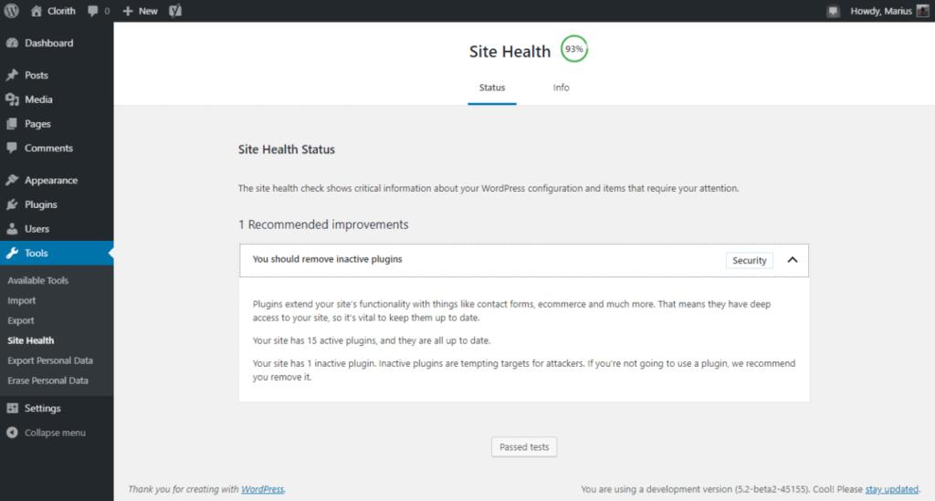 WordPress 5.2 release