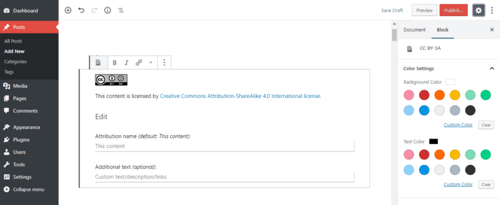 Creative Commons plugin