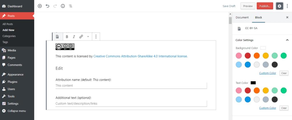 Creative Commons plugin