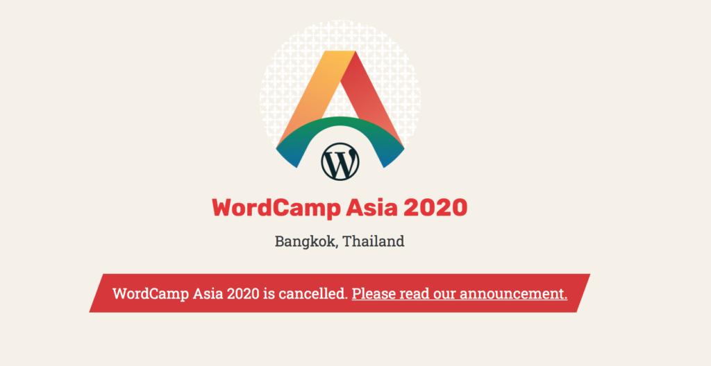 wordcamp asia 2020 geannuleerd wegens zorgen om COVID-19