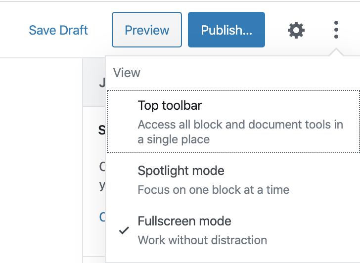 editor standaard in fullscreen modus