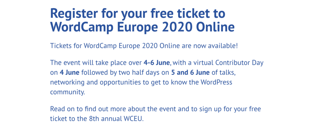 online registratie voor WCEU 2020
