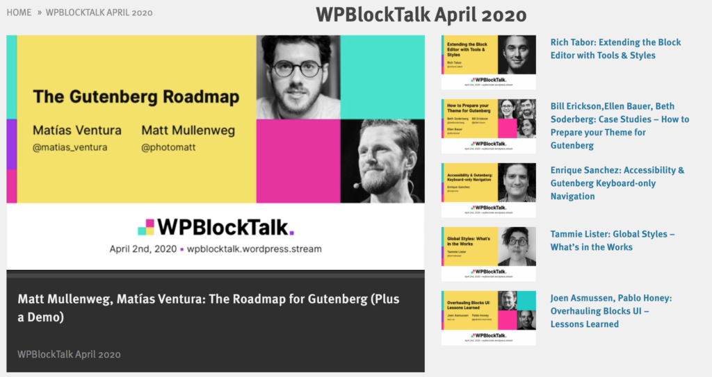 wpblocktalk video's