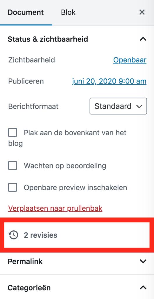 WordPress revisies in de Gutenberg editor
