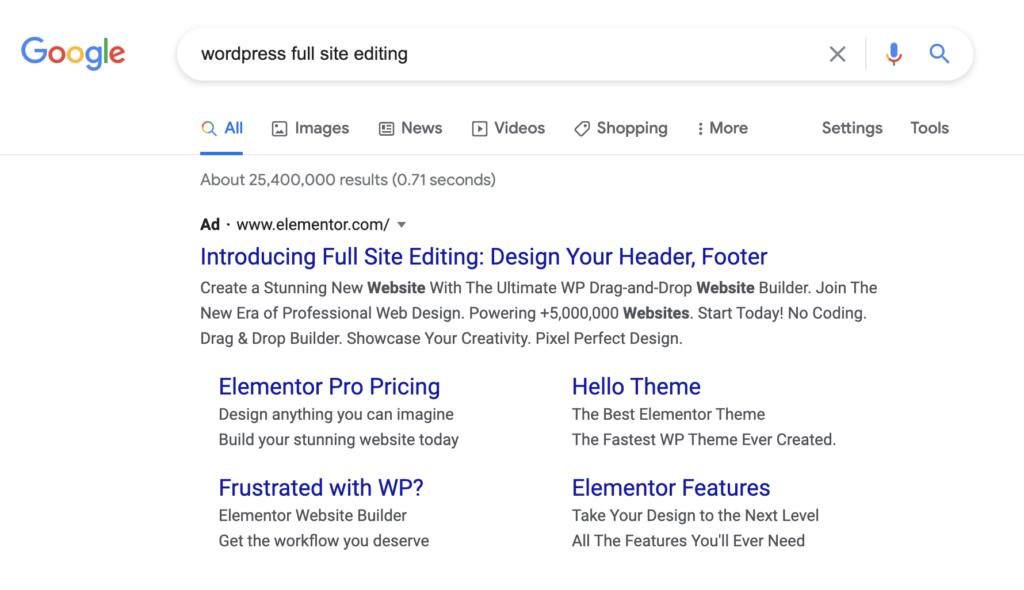 Google Ads van Elementor